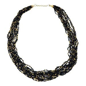 Seed Bead Black Gold Multi Strand Necklace